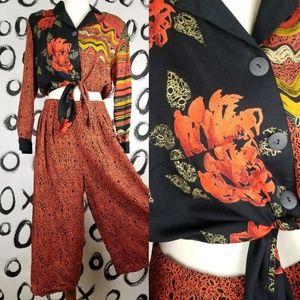 Vintage 80s 2 Piece Set Culottes Pants Cropped Top